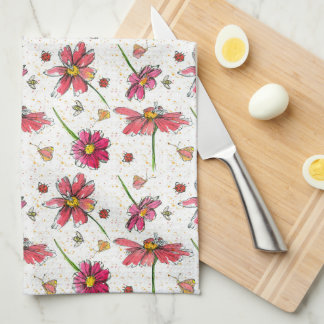 Ladybugs Bees Watercolor Flowers Kitchen Towel