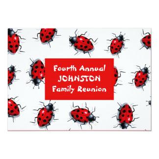 "Ladybugs Family Reunion Invitation: Red & White 5"" X 7"" Invitation Card"