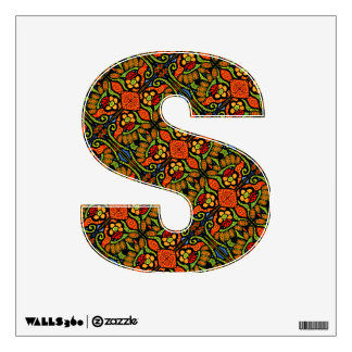 Ladybugs Flowers And Polka Dots Pattern Initial Wall Sticker