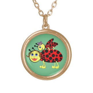 Ladybugs Gold Plated Necklace