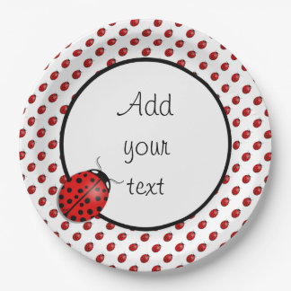 Ladybugs in red 9 inch paper plate