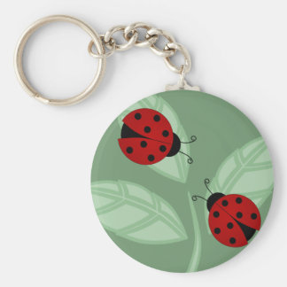 Ladybugs on Leaves Keychain