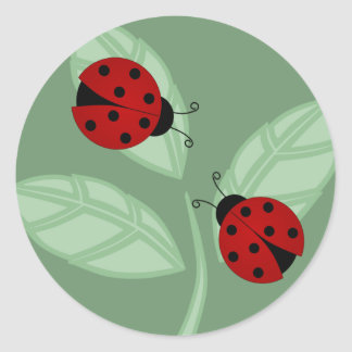 Ladybugs on Leaves Sticker