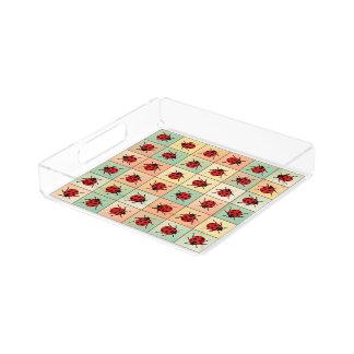Ladybugs pattern acrylic tray