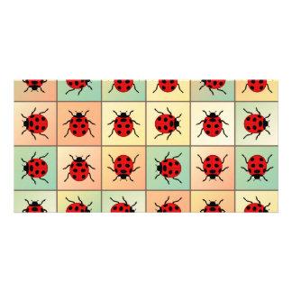 Ladybugs pattern custom photo card