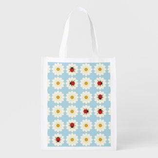 Ladybugs pattern grocery bag