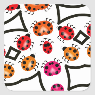 Ladybugs Pattern in Pink, Cute Insects Square Sticker