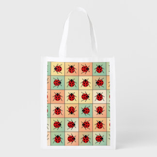 Ladybugs pattern reusable grocery bag