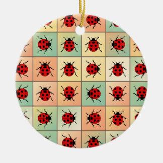 Ladybugs pattern round ceramic ornament