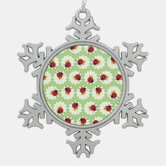 Ladybugs pattern snowflake pewter christmas ornament