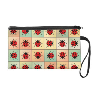 Ladybugs pattern wristlet clutch
