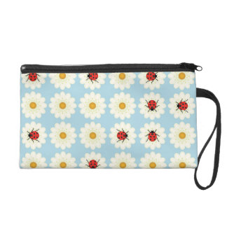 Ladybugs pattern wristlet purse