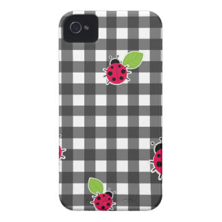 Ladybugs plaid pattern Case-Mate iPhone 4 cases