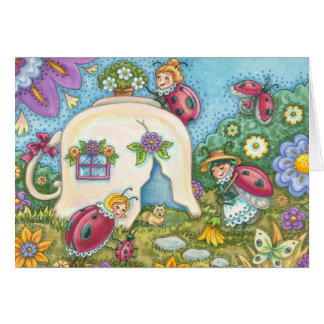 LADYBUGS TEACUP COTTAGE NOTE CARD Blank