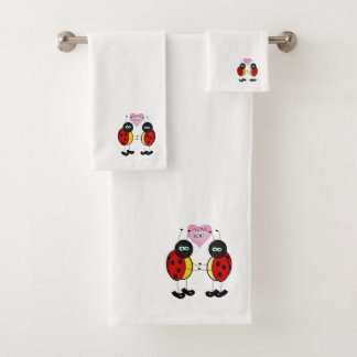 Ladybugs together holding hands in love bath towel set