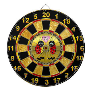 Ladybugs together holding hands in love gold dartboard