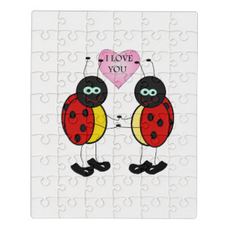Ladybugs together holding hands in love jigsaw puzzle