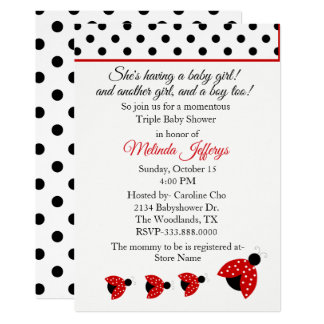 Ladybugs Triplets Baby Shower Invitation