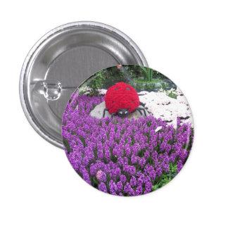 LadyLUCK LADYbug Flowers Purple Butterfly Garden 1 Inch Round Button