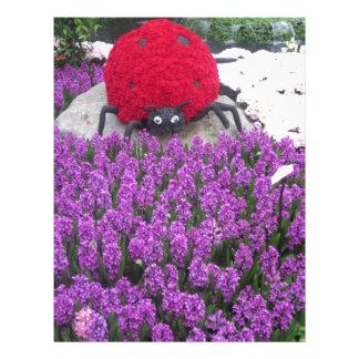 LadyLUCK LADYbug Flowers Purple Butterfly Garden Letterhead Design