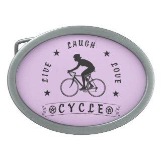 Lady's Live Laugh Love Cycle text (blk) Belt Buckles