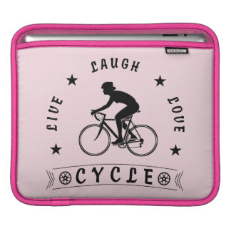 Lady's Live Laugh Love Cycle text (blk) iPad Sleeve