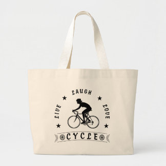 Lady's Live Laugh Love Cycle text (blk) Large Tote Bag