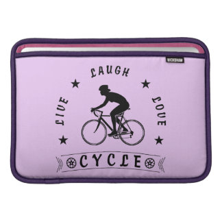 Lady's Live Laugh Love Cycle text (blk) MacBook Sleeve