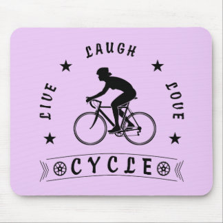 Lady's Live Laugh Love Cycle text (blk) Mouse Pad