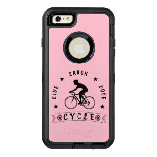 Lady's Live Laugh Love Cycle text (blk) OtterBox Defender iPhone Case