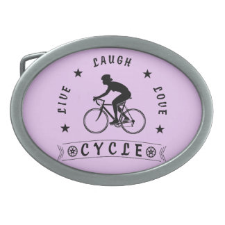 Lady's Live Laugh Love Cycle text (blk) Oval Belt Buckle