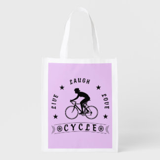 Lady's Live Laugh Love Cycle text (blk) Reusable Grocery Bag