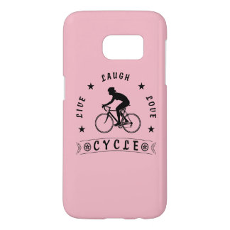 Lady's Live Laugh Love Cycle text (blk) Samsung Galaxy S7 Case