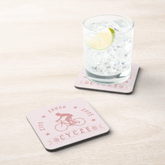 Lady's Live Laugh Love Cycle text (pink) Coaster