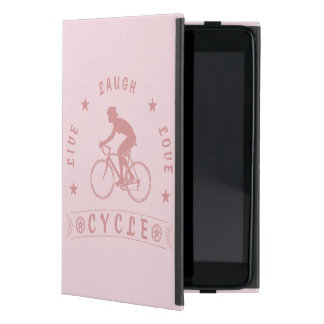 Lady's Live Laugh Love Cycle text (pink) iPad Mini Cover