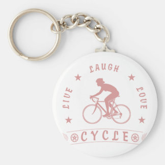 Lady's Live Laugh Love Cycle text (pink) Keychain