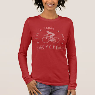 Lady's Live Laugh Love Cycle text (pink) Long Sleeve T-Shirt