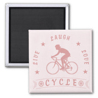 Lady's Live Laugh Love Cycle text (pink) Magnet