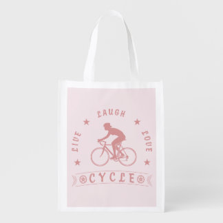 Lady's Live Laugh Love Cycle text (pink) Reusable Grocery Bag