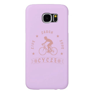 Lady's Live Laugh Love Cycle text (pink) Samsung Galaxy S6 Case