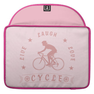 Lady's Live Laugh Love Cycle text (pink) Sleeve For MacBooks