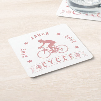 Lady's Live Laugh Love Cycle text (pink) Square Paper Coaster