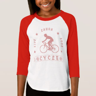 Lady's Live Laugh Love Cycle text (pink) T-Shirt