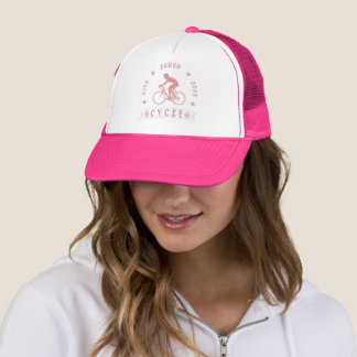 Lady's Live Laugh Love Cycle text (pink) Trucker Hat