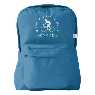 Lady's Live Laugh Love Cycle text (wht) Backpack