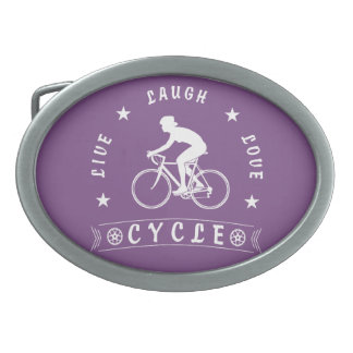 Lady's Live Laugh Love Cycle text (wht) Belt Buckle