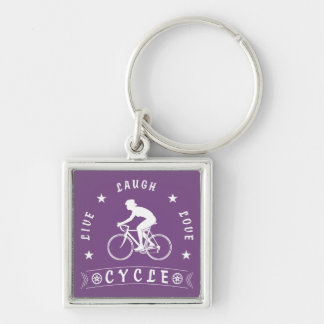 Lady's Live Laugh Love Cycle text (wht) Keychain
