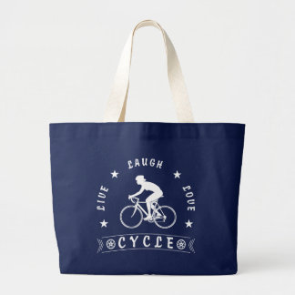 Lady's Live Laugh Love Cycle text (wht) Large Tote Bag