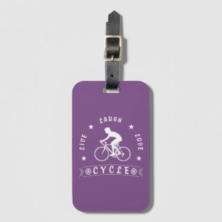 Lady's Live Laugh Love Cycle text (wht) Luggage Tag