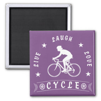 Lady's Live Laugh Love Cycle text (wht) Magnet